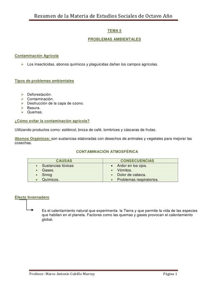 Resumen de la Materia de Estudios Sociales de Octavo Año                                                       TEMA 5     ...
