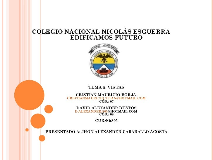 COLEGIO NACIONAL NICOLÁS ESGUERRA         EDIFICAMOS FUTURO                   TEMA 5: VISTAS              CRISTIAN MAURICI...