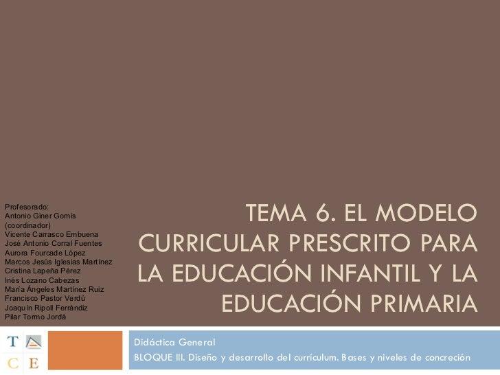 TEMA 6. EL MODELO CURRICULAR PRESCRITO PARA LA EDUCACIÓN INFANTIL Y LA EDUCACIÓN PRIMARIA Didáctica General BLOQUE III. Di...