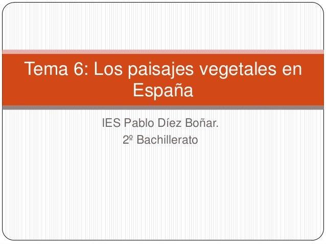 Tema 6: Los paisajes vegetales en            España         IES Pablo Díez Boñar.             2º Bachillerato