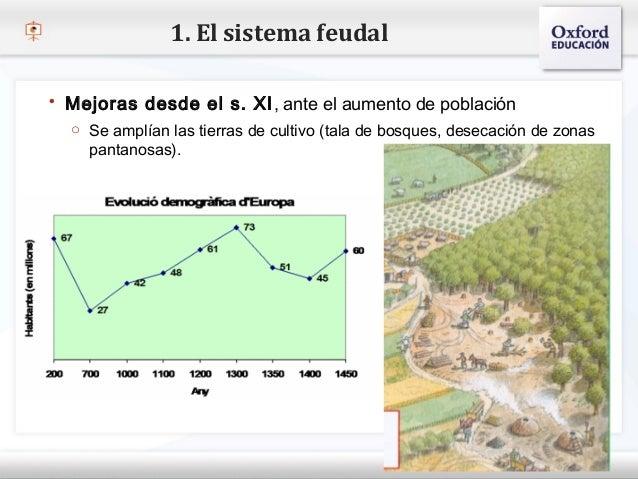 1. El sistema feudal    Mejoras desde el s. XI , ante el aumento de población     o Se amplían las tierras de cultivo (ta...