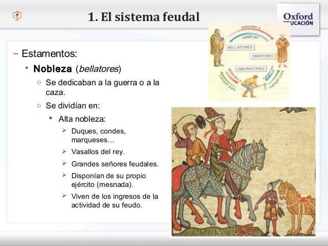 1. El sistema feudal– Estamentos:    Nobleza (bellatores)– Haga clic para modificar el estilo de texto del patrón     o S...