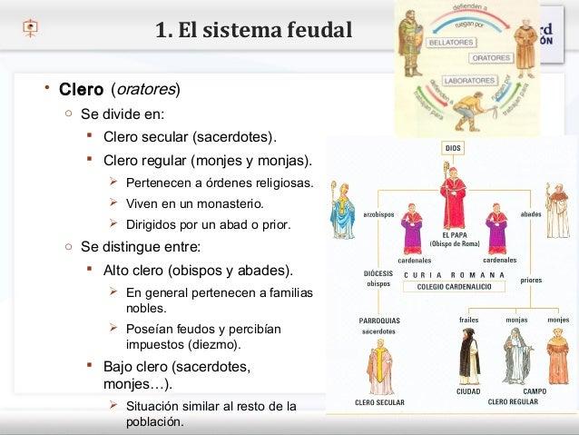 1. El sistema feudal    Clero (oratores)     o Se divide en:– Haga clic para modificar el estilo de texto del patrón     ...