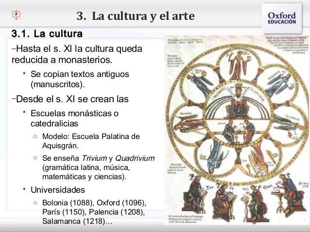 3. La cultura y el arte3.1. La cultura–Hasta el s. XI la cultura quedareducida a monasterios.– Haga copian textos antiguos...