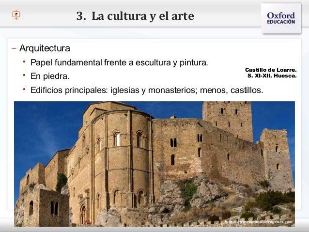 3. La cultura y el arte– Arquitectura    Papel fundamental frente a escultura y pintura.– Haga piedra. modificar el estil...
