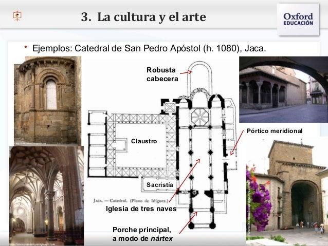 3. La cultura y el arte   Ejemplos: Catedral de San Pedro Apóstol (h. 1080), Jaca.                                     Ro...