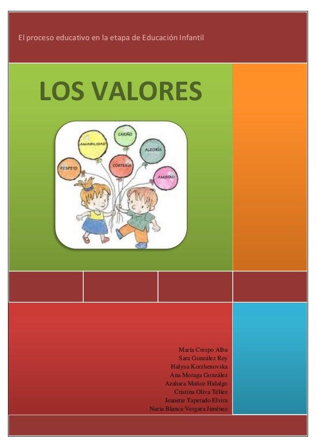 EL PROCESO EDUCATIVO EN LA ETAPA DE INFANTILEl proceso educativo en la etapa de Educación Infantil     LOS VALORES        ...
