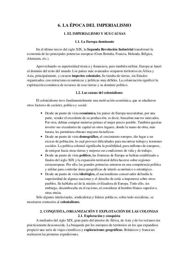 6. LA ÉPOCA DEL IMPERIALISMO 1. EL IMPERIALISMO Y SUS CAUSAS 1.1. La Europa dominante En el último tercio del siglo XIX, l...