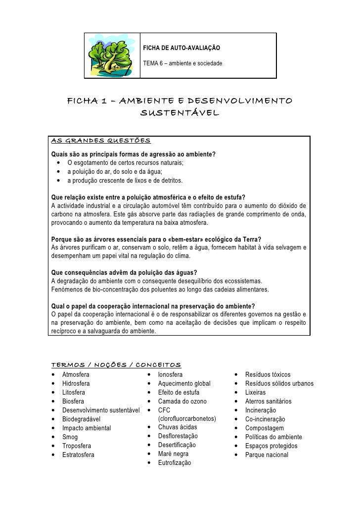 FICHA DE AUTO-AVALIAÇÃO                                 TEMA 6 – ambiente e sociedade     FICHA 1 – AMBIENTE E DESENVOLVIM...