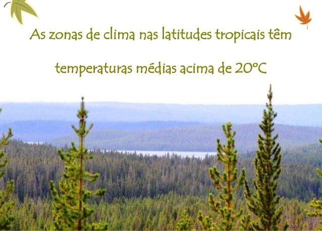 As zonas de clima nas latitudes tropicais têm temperaturas médias acima de 20ºC