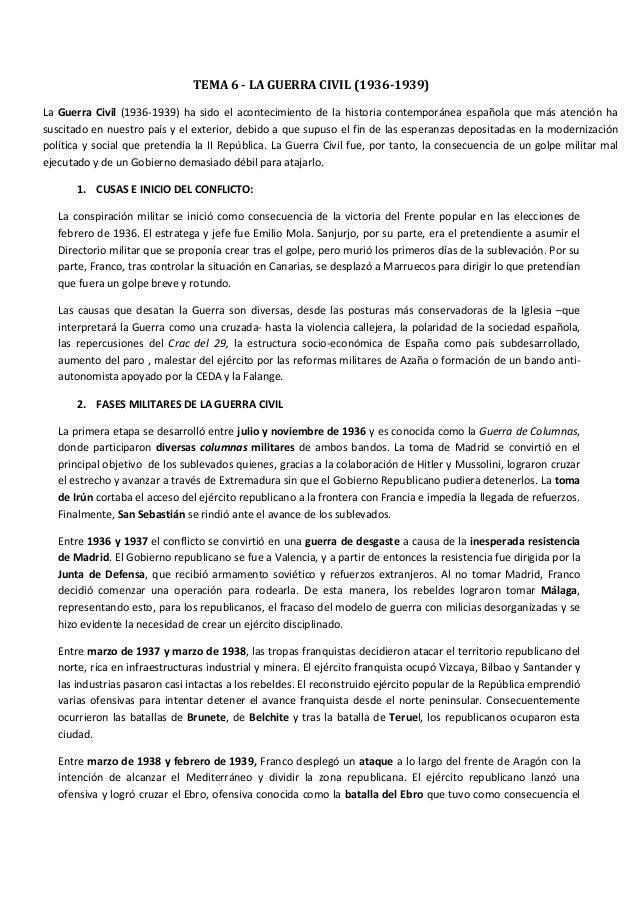 LA GUERRA CIVIL (TEMA HISTORIA SELECTIVIDAD)