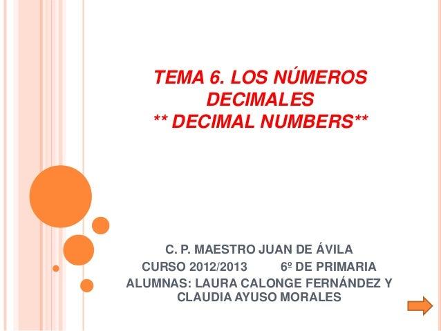 TEMA 6. LOS NÚMEROS         DECIMALES   ** DECIMAL NUMBERS**     C. P. MAESTRO JUAN DE ÁVILA  CURSO 2012/2013     6º DE PR...