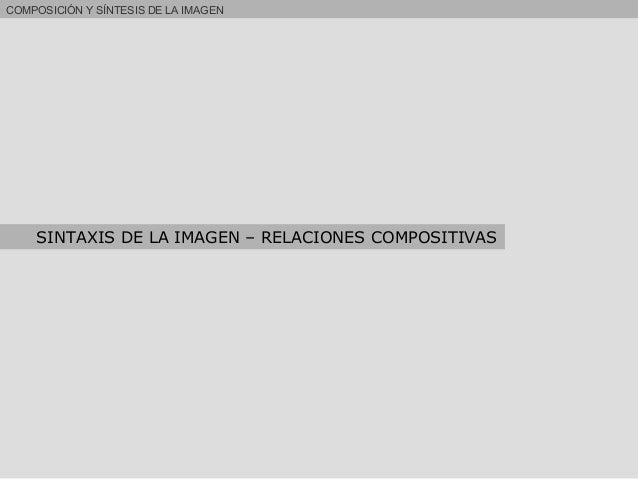 COMPOSICIÓN Y SÍNTESIS DE LA IMAGEN SINTAXIS DE LA IMAGEN – RELACIONES COMPOSITIVAS