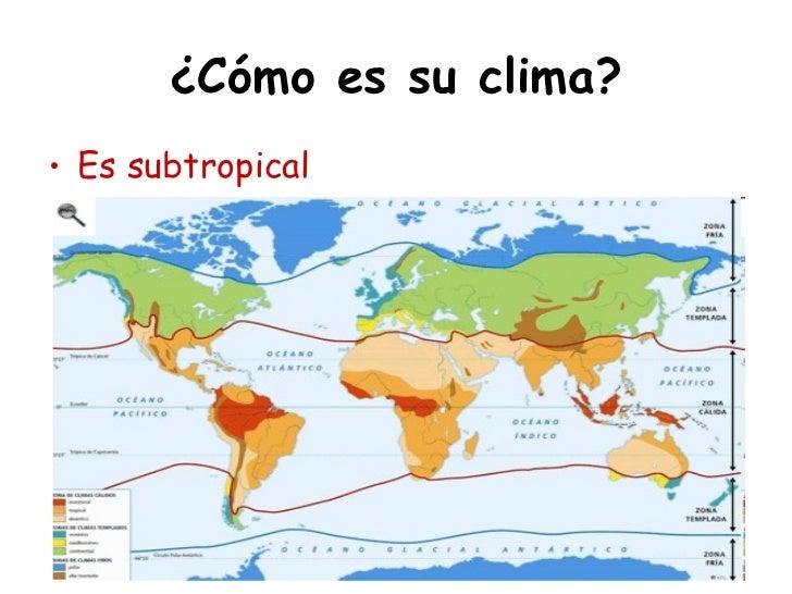 ¿Cómo es su clima?• Es subtropical