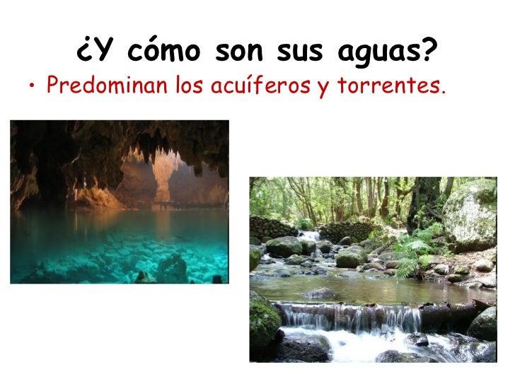 ¿Y cómo son sus aguas?• Predominan los acuíferos y torrentes.