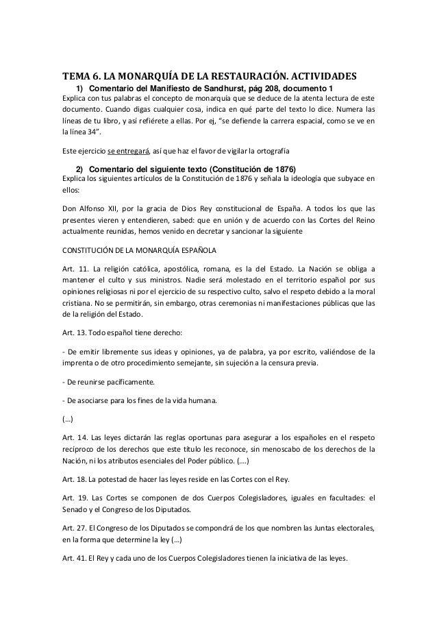 TEMA 6. LA MONARQUÍA DE LA RESTAURACIÓN. ACTIVIDADES 1) Comentario del Manifiesto de Sandhurst, pág 208, documento 1 Expli...