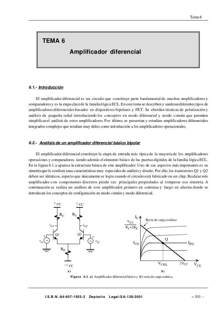 Tema 6              TEMA 6                                       Amplificador diferencial     6.1.- Introducción       El ...