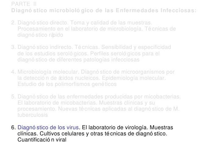PARTE  II Diagnóstico microbiológico de las Enfermedades Infecciosas: 2. Diagnóstico directo. Toma y calidad de las muestr...