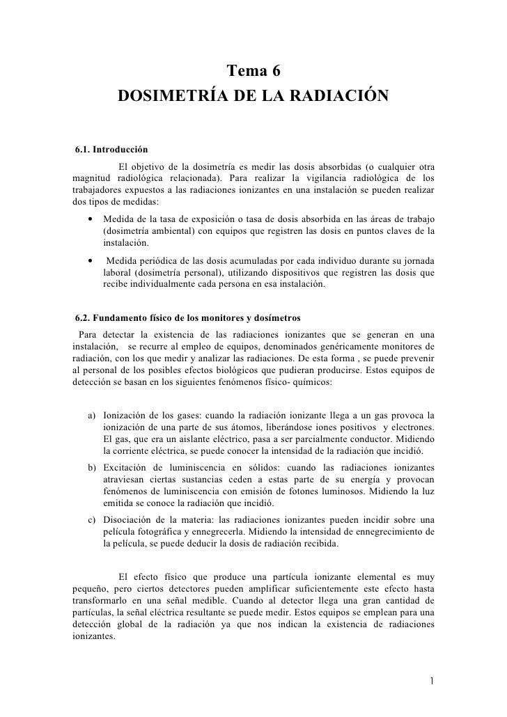 Tema 6            DOSIMETRÍA DE LA RADIACIÓN   6.1. Introducción             El objetivo de la dosimetría es medir las dos...