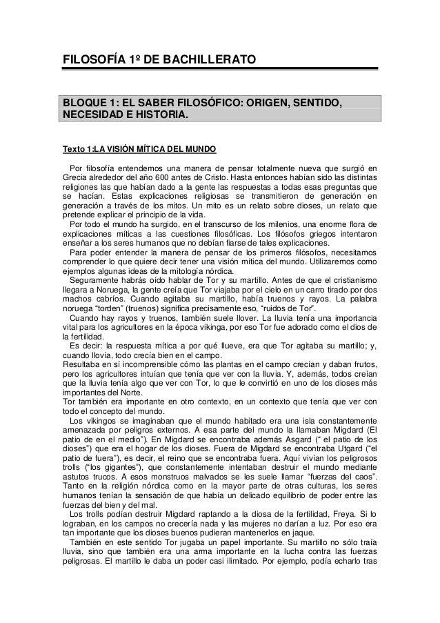 FILOSOFÍA 1º DE BACHILLERATO BLOQUE 1: EL SABER FILOSÓFICO: ORIGEN, SENTIDO, NECESIDAD E HISTORIA. Texto 1:LA VISIÓN MÍTIC...