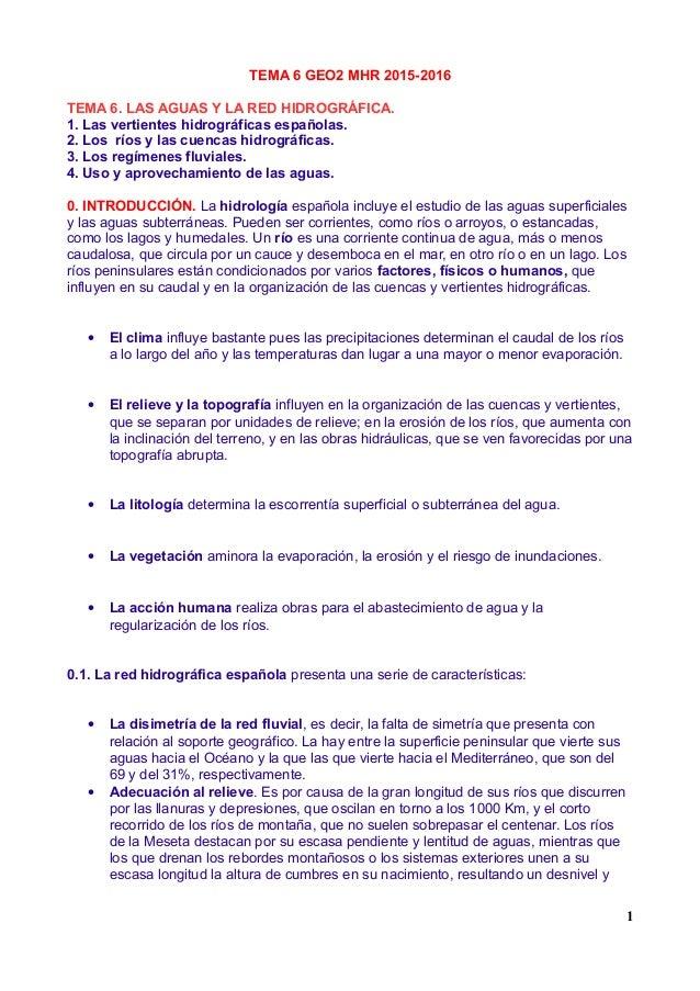TEMA 6 GEO2 MHR 2015-2016 TEMA 6. LAS AGUAS Y LA RED HIDROGRÁFICA. 1. Las vertientes hidrográficas españolas. 2. Los ríos ...