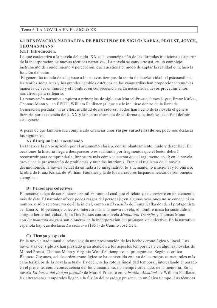 Tema 6. LA NOVELA EN EL SIGLO XX6.1 RENOVACIÓN NARRATIVA DE PRINCIPIOS DE SIGLO: KAFKA, PROUST, JOYCE,THOMAS MANN6.1.1. In...