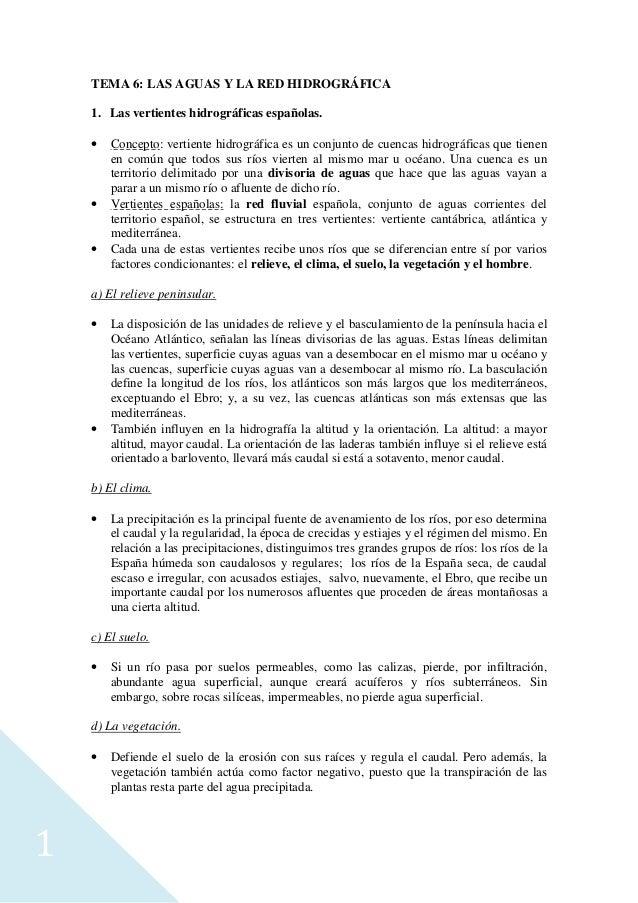 1 TEMA 6: LAS AGUAS Y LA RED HIDROGRÁFICA 1. Las vertientes hidrográficas españolas. • Concepto: vertiente hidrográfica es...