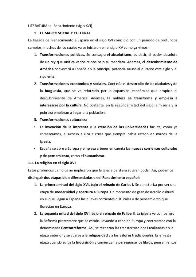 LITERATURA: el Renacimiento (siglo XVI)   1. EL MARCO SOCIAL Y CULTURALLa llegada del Renacimiento a España en el siglo XV...