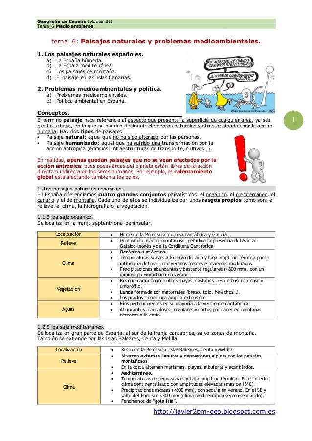 Geografía de España (bloque III) Tema_6 Medio ambiente. http://javier2pm-geo.blogspot.com.es 1 tema_6: Paisajes naturales ...