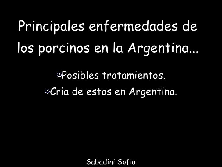 Principales enfermedades de los porcinos en la Argentina... <ul><li>Posibles tratamientos. </li></ul><ul><li>Cria de estos...