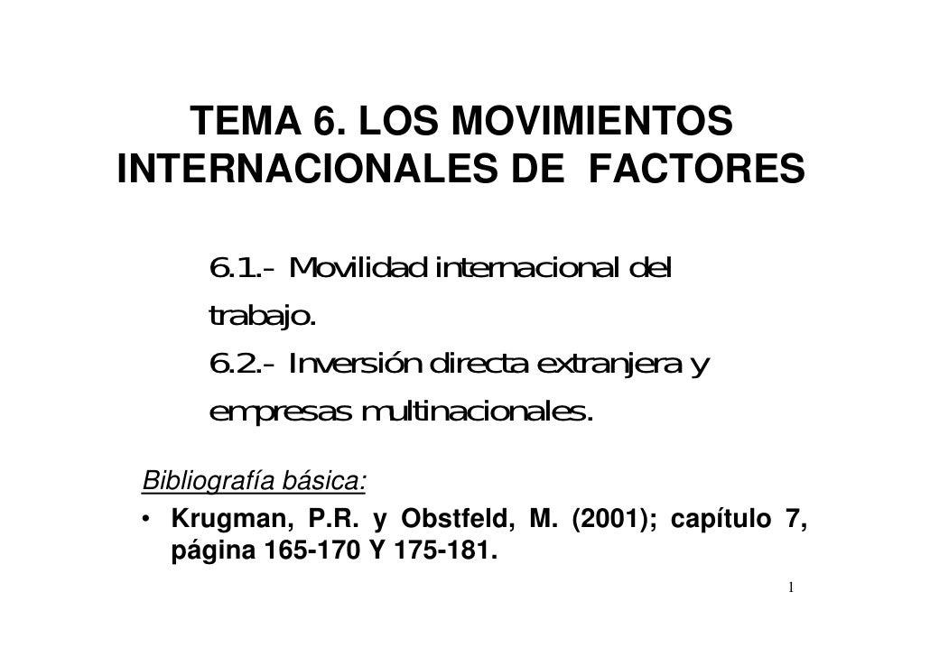 TEMA 6. LOS MOVIMIENTOSINTERNACIONALES DE FACTORES     6.1.- Movilidad internacional del     trabajo.     6.2.- Inversión ...