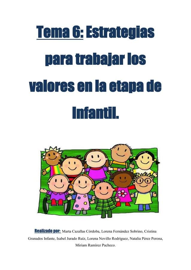 Tema 6: Estrategias          para trabajar losvalores en la etapa de                           Infantil.    Realizado por:...