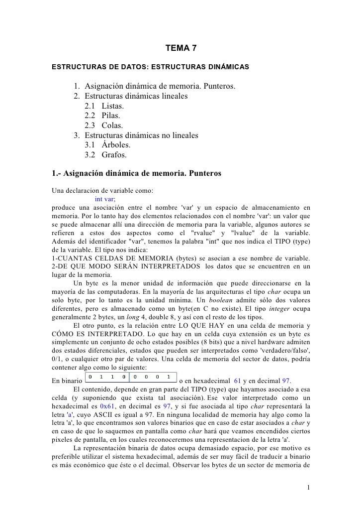 TEMA 7  ESTRUCTURAS DE DATOS: ESTRUCTURAS DINÁMICAS         1. Asignación dinámica de memoria. Punteros.        2. Estruct...