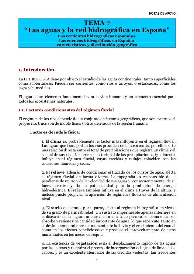 """NOTAS DE APOYO                     TEMA 7   """"Las aguas y la red hidrográfica en España""""                      Las vertiente..."""