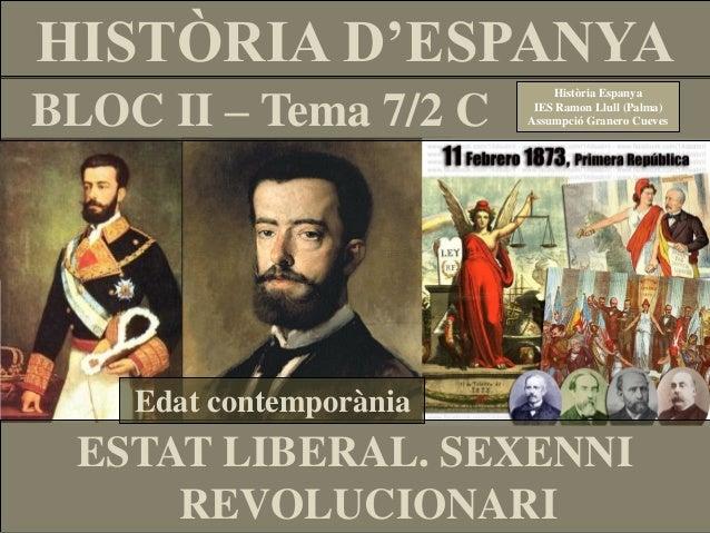 HISTÒRIA D'ESPANYA BLOC II – Tema 7/2 C  Història Espanya IES Ramon Llull (Palma) Assumpció Granero Cueves  Edat contempor...