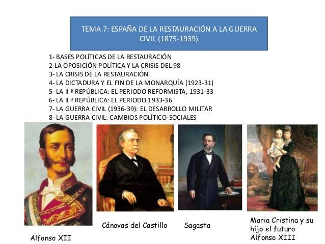 TEMA 7: ESPAÑA DE LA RESTAURACIÓN A LA GUERRA CIVIL (1875-1939) 1- BASES POLÍTICAS DE LA RESTAURACIÓN 2-LA OPOSICIÓN POLÍT...