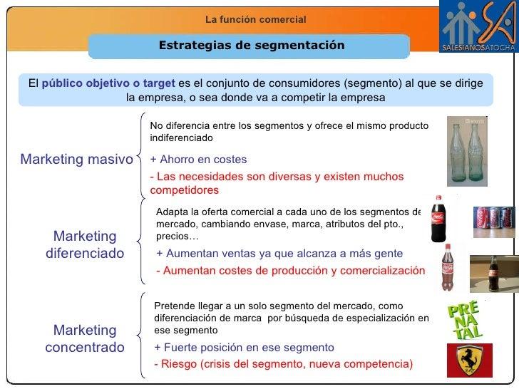 Estrategias de segmentación El  público objetivo  es el conjunto de consumidores (segmento) al que se dirige la empresa, o...