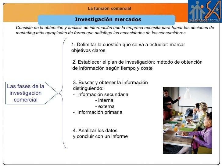 Investigación mercados Consiste en la obtención y análisis de información que la empresa necesita para tomar las deciones ...