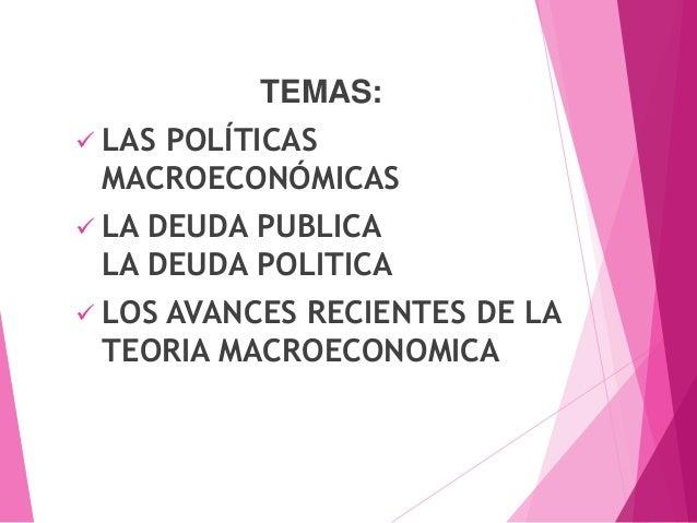TEMAS:  LAS POLÍTICAS MACROECONÓMICAS  LA DEUDA PUBLICA LA DEUDA POLITICA  LOS AVANCES RECIENTES DE LA TEORIA MACROECON...