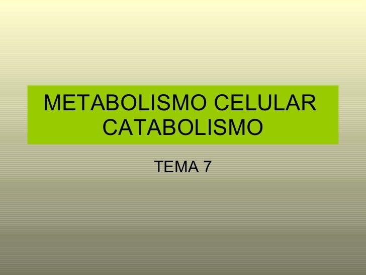 METABOLISMO CELULAR  CATABOLISMO TEMA 7