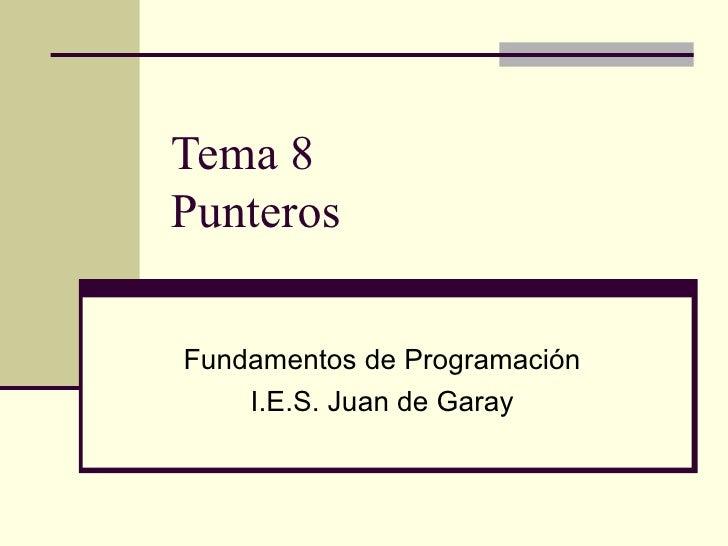 Tema 8 Punteros Fundamentos de Programación I.E.S. Juan de Garay