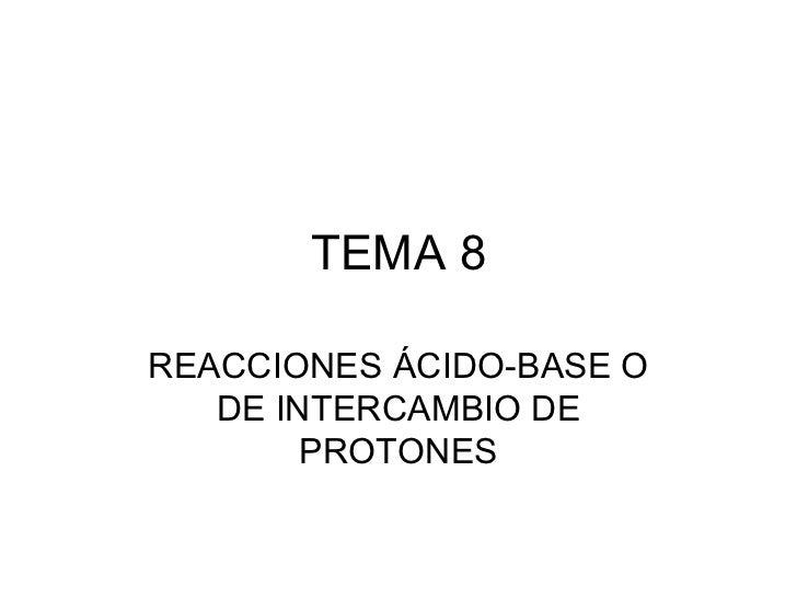 TEMA 8REACCIONES ÁCIDO-BASE O   DE INTERCAMBIO DE        PROTONES