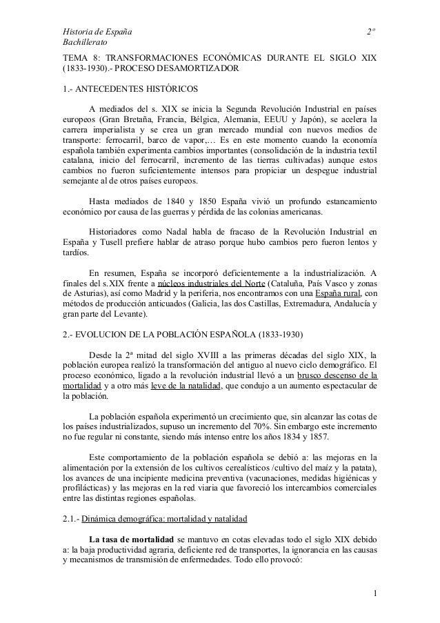 Historia de España 2º  Bachillerato  TEMA 8: TRANSFORMACIONES ECONÓMICAS DURANTE EL SIGLO XIX  (1833-1930).- PROCESO DESAM...