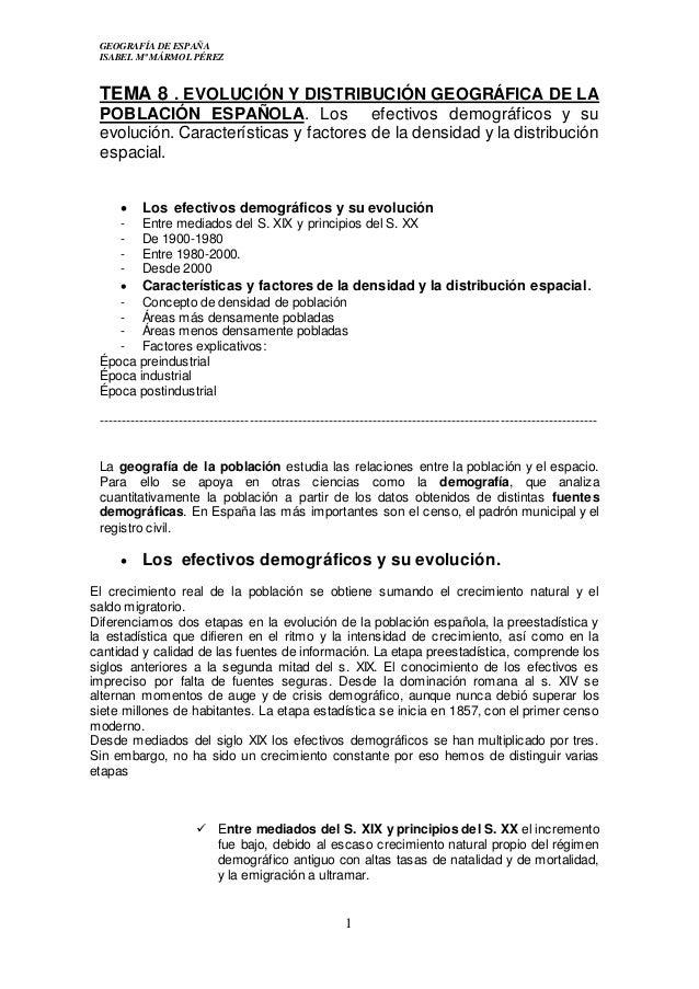 Tema 8 Evolucion Y Distribucion Geografica De La Poblacion