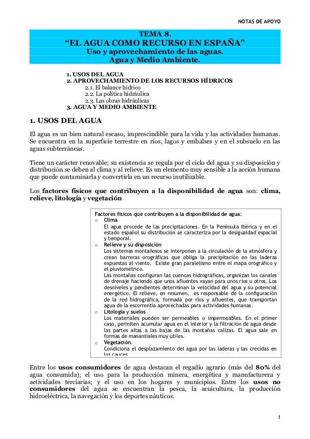 """NOTAS DE APOYO                                          TEMA 8.             """"EL AGUA COMO RECURSO EN ESPAÑA""""              ..."""
