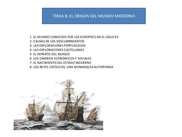 TEMA 8: EL ORIGEN DEL MUNDO MODERNO1- EL MUNDO CONOCIDO POR LOS EUROPEOS EN EL SIGLO XV2- CAUSAS DE LOS DESCUBRIMIENTOS3- ...