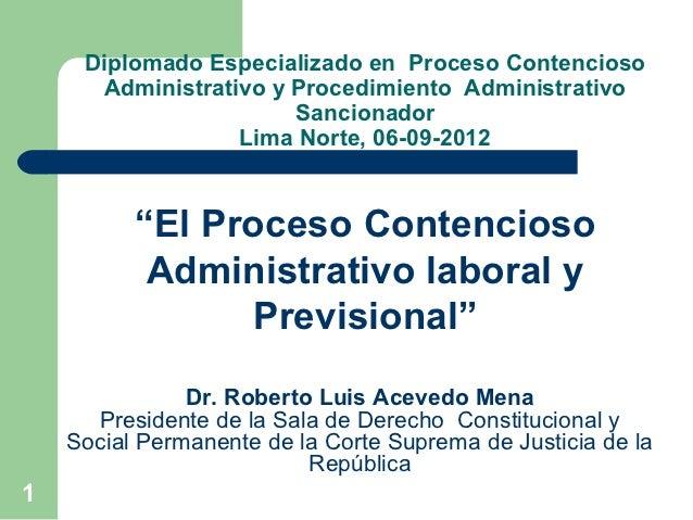 Diplomado Especializado en Proceso Contencioso      Administrativo y Procedimiento Administrativo                       Sa...