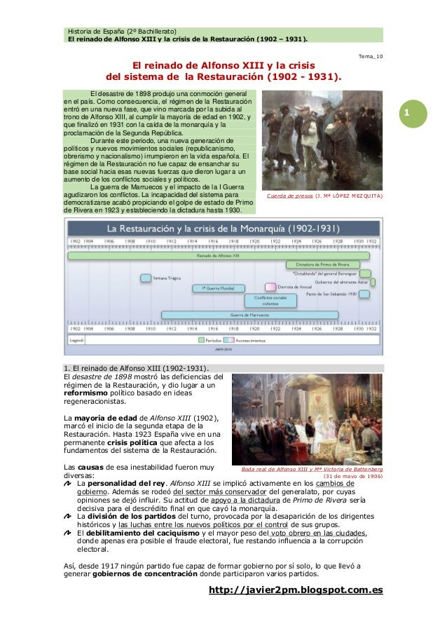 Historia de España (2º Bachillerato) El reinado de Alfonso XIII y la crisis de la Restauración (1902 – 1931). http://javie...