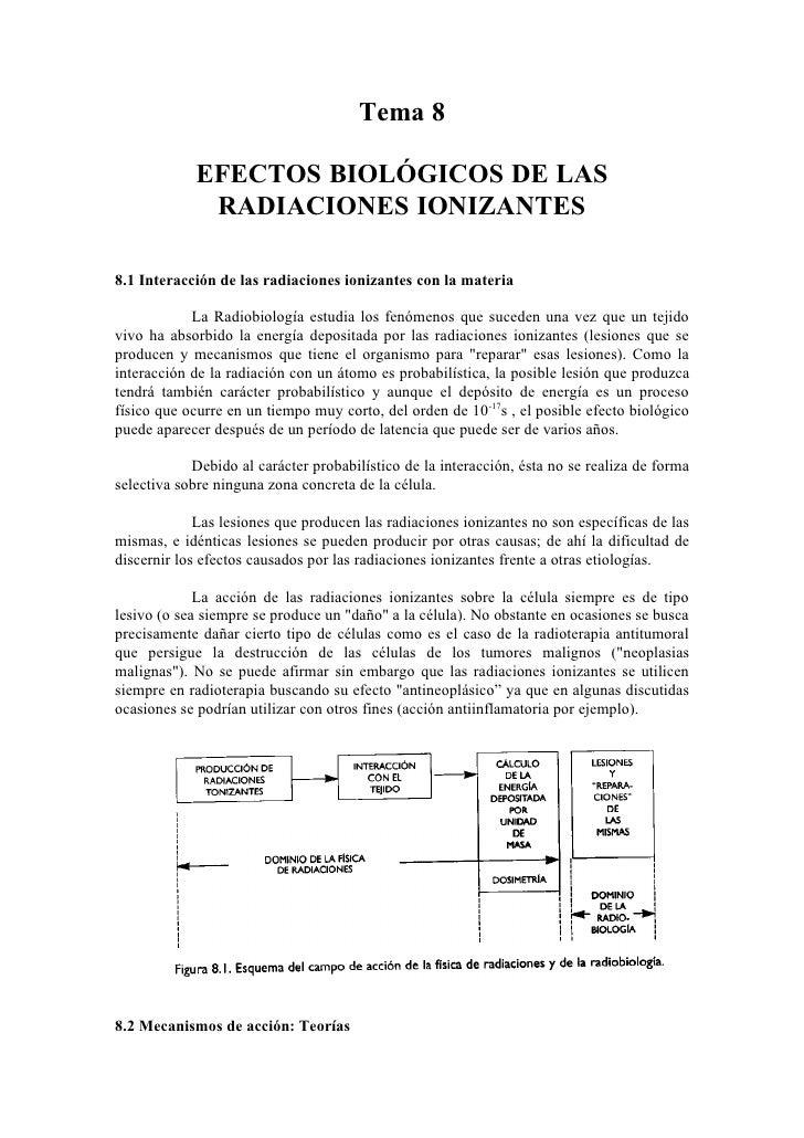 Tema 8              EFECTOS BIOLÓGICOS DE LAS              RADIACIONES IONIZANTES  8.1 Interacción de las radiaciones ioni...
