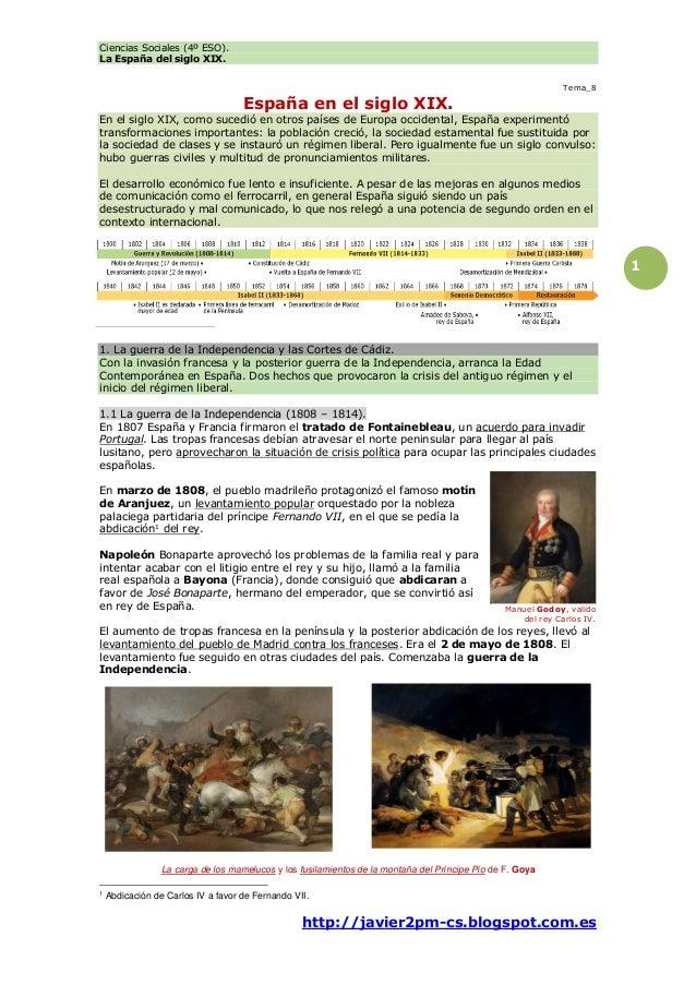 Ciencias Sociales (4º ESO). La España del siglo XIX. http://javier2pm-cs.blogspot.com.es 1 Tema_8 España en el siglo XIX. ...